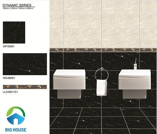 Gạch viền bạch mã tạo điểm nhấn cho nhà vệ sinh