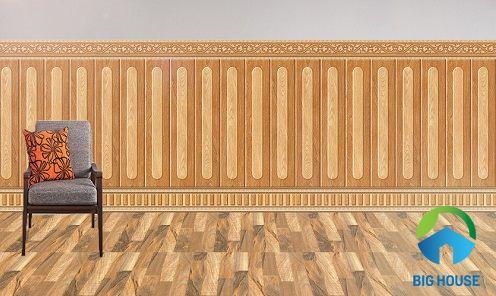 Mẫu gạch ốp chân tường phòng khách giả gỗ chất lượng