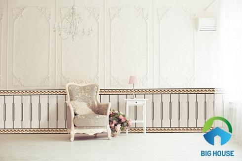 Gạch ốp chân tường phòng khách đầy ấn tượng