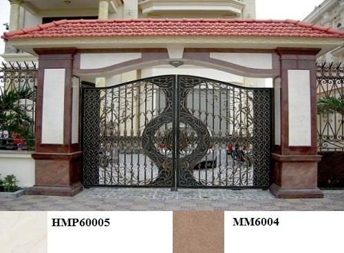 Mẫu gạch ốp cổng nhà đẹp tông nâu - trắng kết hợp