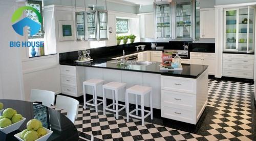 Mẫu gạch lát mặt bếp cho không gian xinh xắn