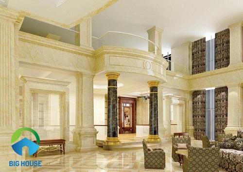 gạch ốp cột vuông cùng tông với màu sàn