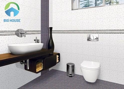 gạch ốp tường nhà tắm màu trắng lịch sự