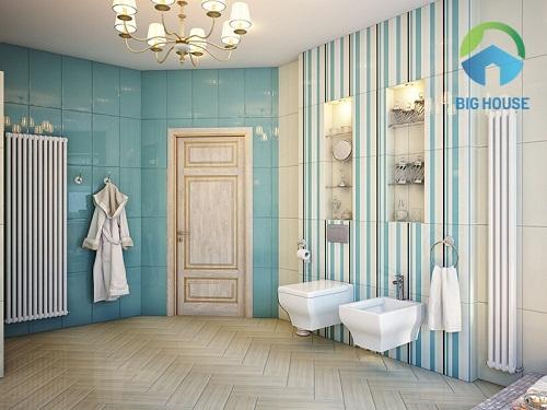 gạch ốp nhà tắm màu xanh kết hợp cùng vân gỗ lạ mắt