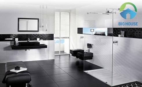 gạch ốp tường trắng men màu trắng kết hợp cùng màu đen huyền bí tạo sự khác biệt