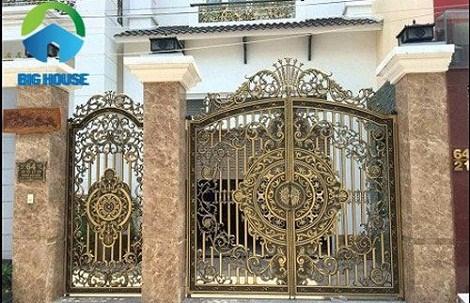 gạch ốp cổng màu vàng 6