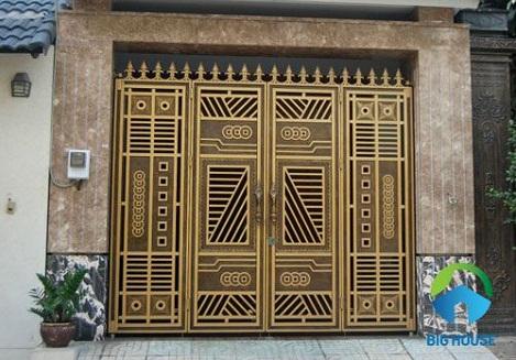 gạch ốp cổng màu vàng 7