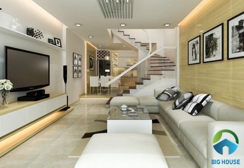 cầu thang nhà lệch tầng đẹp sang trọng