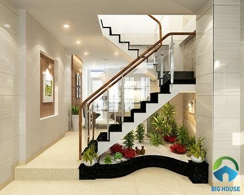mẫu cầu thang nhà lệch tầng đẹp