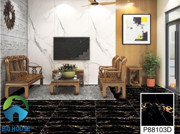 Phối cảnh chọn gạch lát nền phòng khách Ý Mỹ P88103D