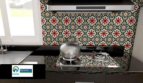 Gạch bông trang trí bếp 10x10 tạo điểm nhấn đặc biệt
