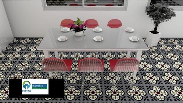 Mẫu gạch bông lát nền 10x10 tạo nên sự đặc biệt cho phòng ăn