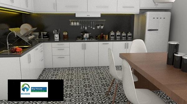 Gạch bông 10x10 trang trí phòng bếp đẹp mắt