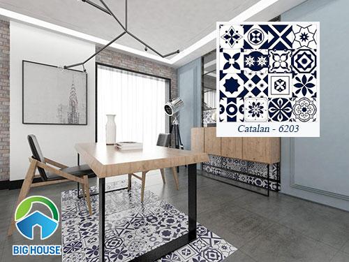Gạch bông lát 60x60 tạo thành gạch thảm trang trí cho phòng khách