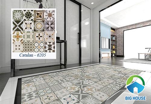 Sử dụng gạch bông lát nền 60x60 để tạo thành thảm gạch gây ấn tượng cho không gian