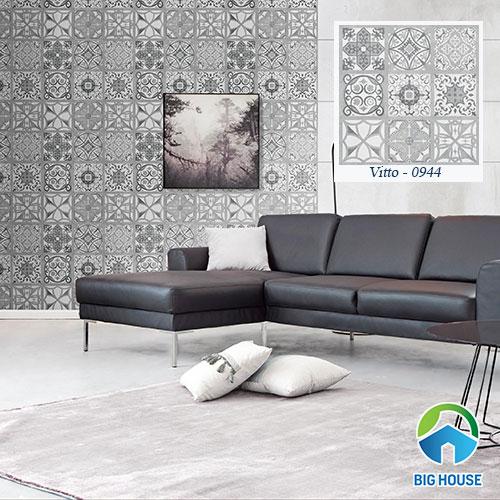 Gạch bông ốp tường 60x60 với gam màu cơ bản giúp phòng khách thêm nổi bật