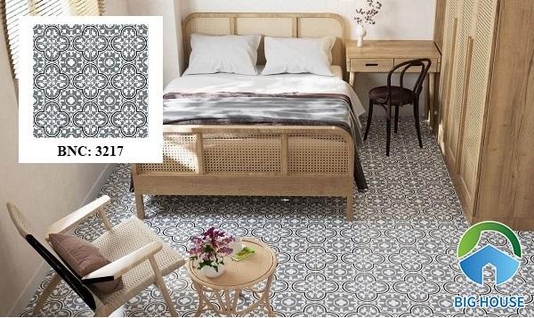 Để không gian phòng ngủ trở nên cuốn hút hơn, hãy tham khảo mẫu gạch bông trang trí BNC 3217.