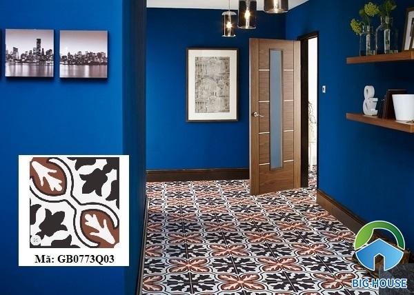 Gạch bông cổ điển ánh lửa Đồng Tâm GB0773Q03 lát nền hành lang rất phù hợp. Kết hợp cùng tường sơn màu xanh giúp không gian nổi bật, thu hút.