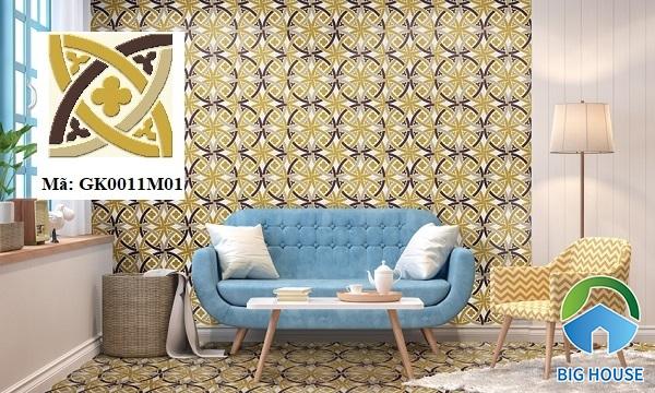 Không gian phòng khách tràn đầy sức sống, tươi mới với mẫu gạch Đồng Tâm GK0011M01. Đặc biệt, họa tiết bông hoa mềm mại trên gạch tạo sức hút lớn với người nhìn.