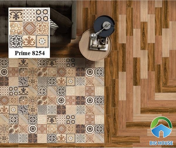 Gạch bông Prime 8254 60x60 lát nền tạo thành tấm thảm gạch mang vẻ đẹp tự nhiên. Và sự kết hợp cùng nền gạch giả gỗ tạo sự ấm cúng, gần gũi.