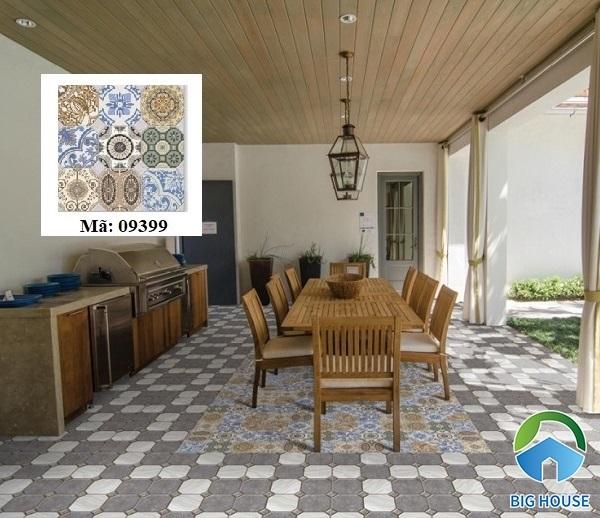 Hay bạn cũng có thể trang trí gạch bông dạng thảm bằng mẫu gạch Prime 9399.