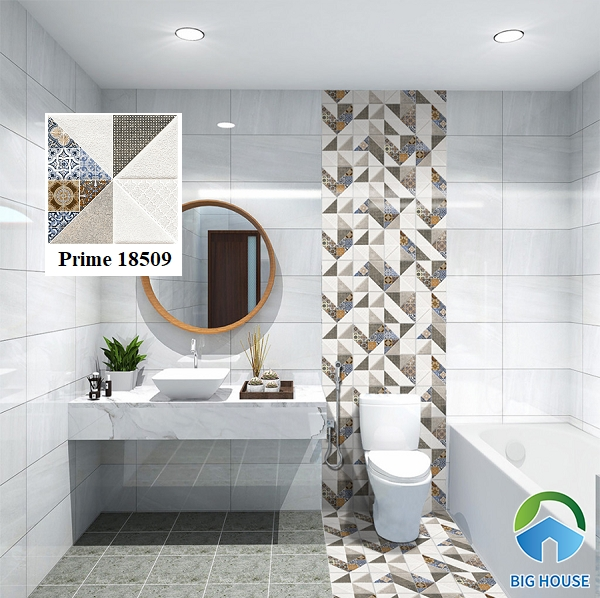 Hút hồn trước mẫu gạch bông hoa văn cổ điển xen lẫn nét đẹp hiện đại Prime 18509. Không gian phòng tắm đầy mới lạ, độc đáo với mẫu gạch bông trang trí này.