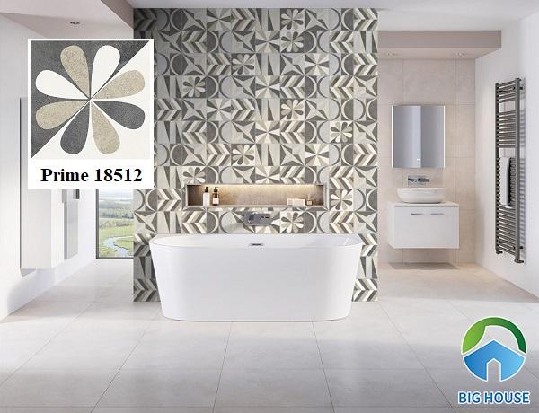 Nếu phòng tắm, nhà vệ sinh nhà bạn mang phong cách hiện đại, hãy tham khảo ngay mẫu gạch bông Prime 18512 với tone màu ghi xám trung tính.