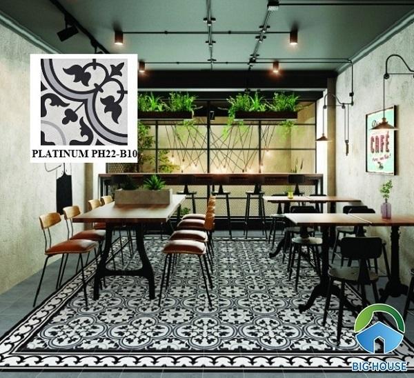 Quán cafe sử dụng mẫu gạch bông Viglacera Platinum PH22-B10 lát nền trang trí rất đẹp.