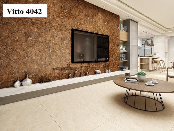 Mẫu gạch bóng kiếng ốp tường Vitto 4042 80x80 nổi tiếng bởi vẻ đẹp cao cấp nhờ lớp men siêu bóng