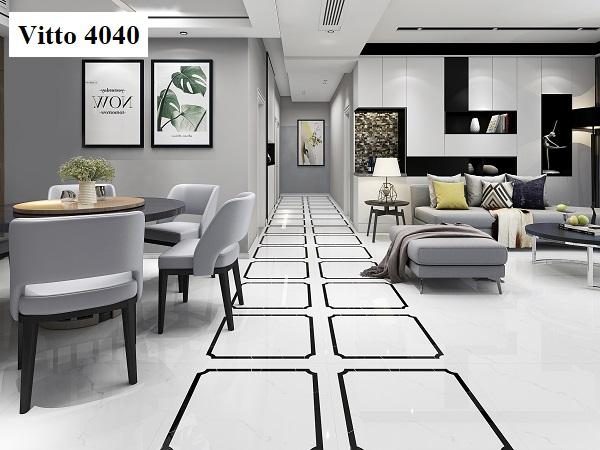 Bề mặt bóng kính của mẫu gạch Vitto 4040 mang lại vẻ đẹp nổi bật, sang trọng cho khu vực tiếp khách