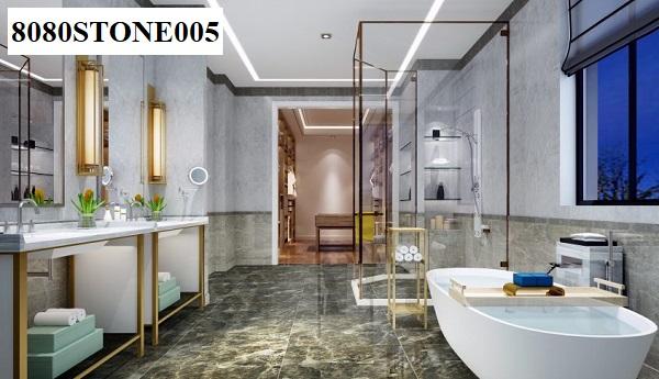 Không chỉ được sử dụng cho không gian phòng khách, phòng ngủ,... Gạch bóng kính Đồng Tâm 8080STONE005 còn được ứng dụng ngay cả trong không gian phòng tắm, đặc biệt là các phòng tắm sang trọng