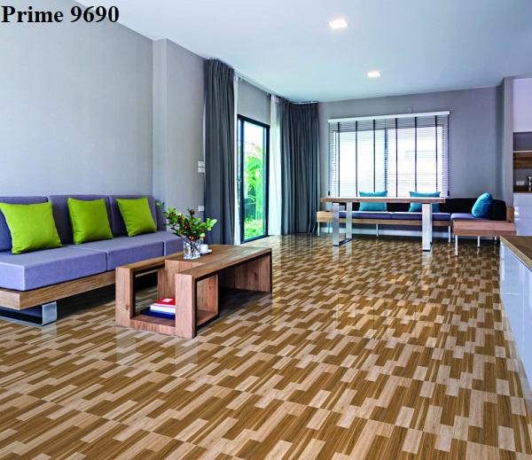 Phòng khách thêm vẻ đẹp ấn tượng với mẫu gạch bóng kính Prime 9690 60x60 lát nền