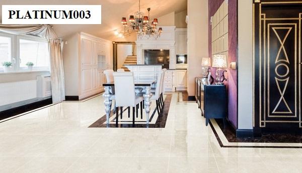 Họa tiết vân đá cùng tông màu kem của mẫu gạch Đồng Tâm 6060PLATINUM003 giúp bạn dễ dàng phối kết hợp đồ nội thất