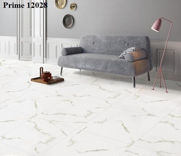 Họa tiết vân đá marble nổi bật trên nền gạch bóng kiếng Prime 12028 màu trắng tinh khôi