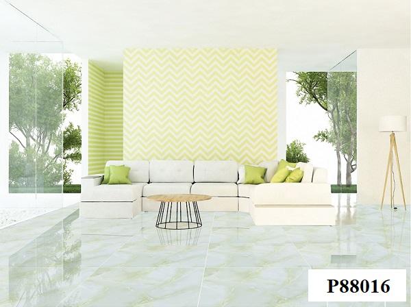 Với những phòng khách thiết kế theo phong cách tối giản, bạn có thể lựa chọn lát nền bằng gạch bóng kiếng Ý Mỹ P88016 80x80 màu xanh ngọc