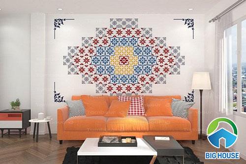 Gạch bông ốp tường tạo tranh đẹp mắt cho phòng khách