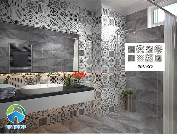 Gạch bông ốp tường nhà vệ sinh họa tiết hình khối đen trắng độc đáo