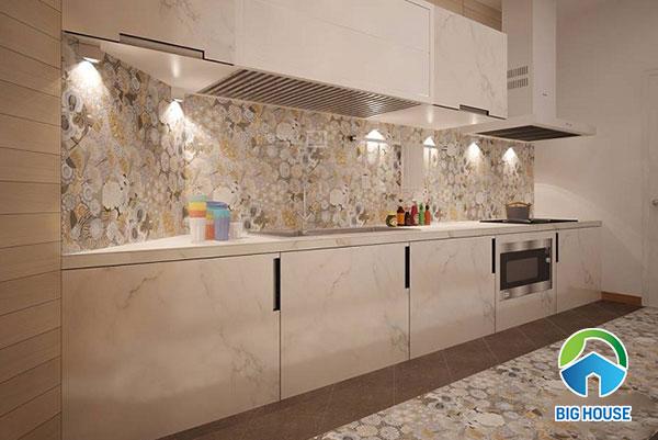 gạch bông tây ban nha trang trí nhà bếp