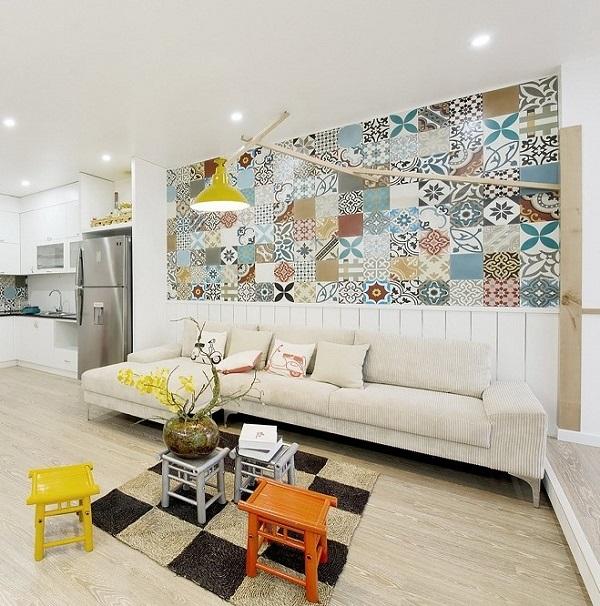 Gạch bông trang trí phòng khách tạo điểm nhấn đặc biệt cho không gian