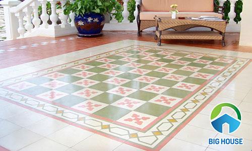 gạch bông viền tạo thảm đẹp mắt