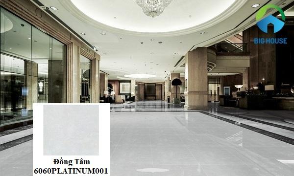 Gạch Đồng Tâm 6060PLATINUM001 có kích thước 60x60, dùng cho những không gian có diện tích lớn
