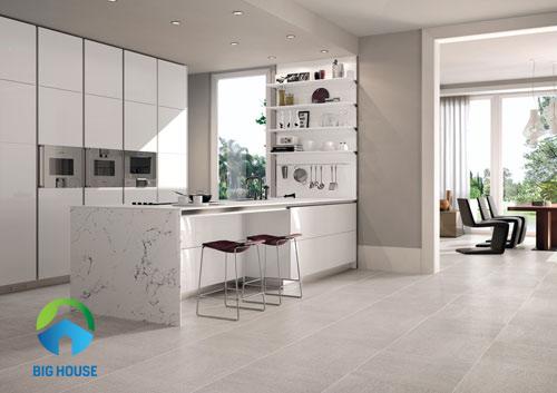 gạch lát nền giả đá Bạch mã cho nhà bếp