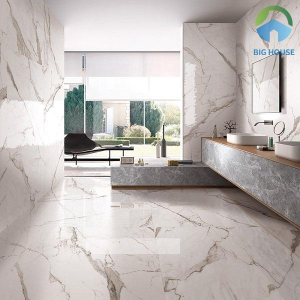 Gạch vân đá marble gồm các đường vân đá chân thực, tự nhiên mang đến vẻ đẹp sang trọng và hiện đại