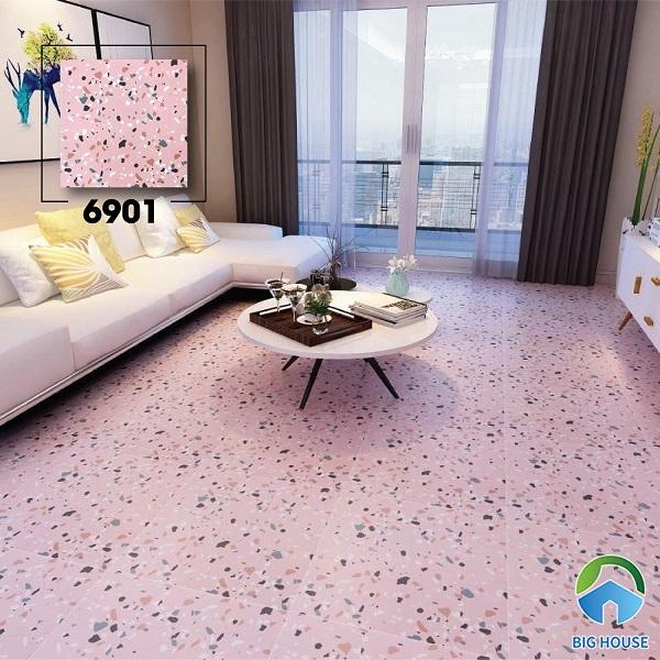 Không gian phòng khách đầy thơ mộng với mẫu gạch vân đá mài terrazzo 6901 màu hồng