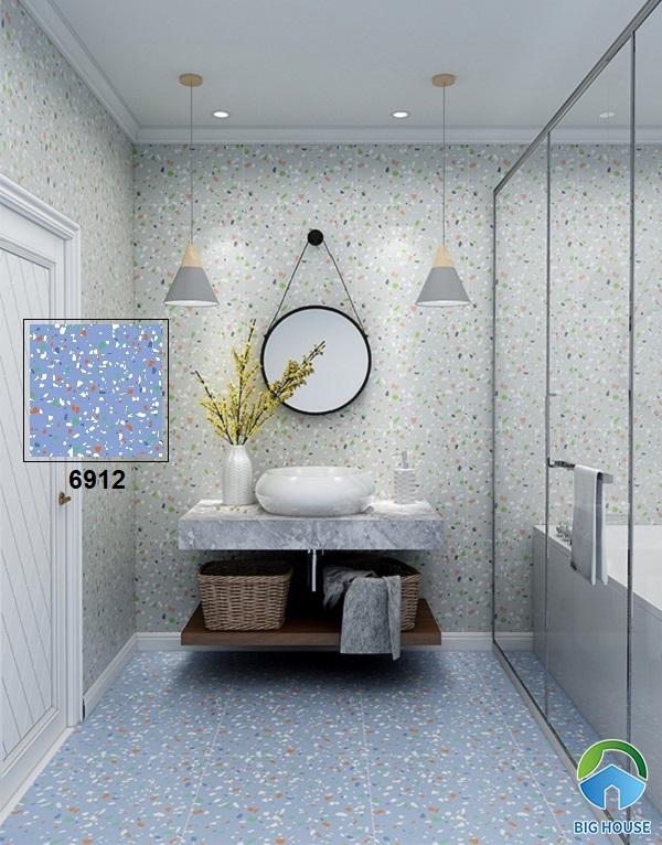 Mẫu gạch terrazzo 6912 60x60 có sắc xanh nước biển tươi mát rất phù hợp lát nền nhà tắm
