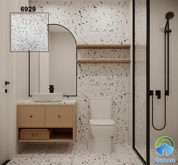 Họa tiết đá đa sắc màu trên nền gạch 6929 màu trắng luôn là sự lựa chọn tuyệt vời để ốp lát cho mọi không gian
