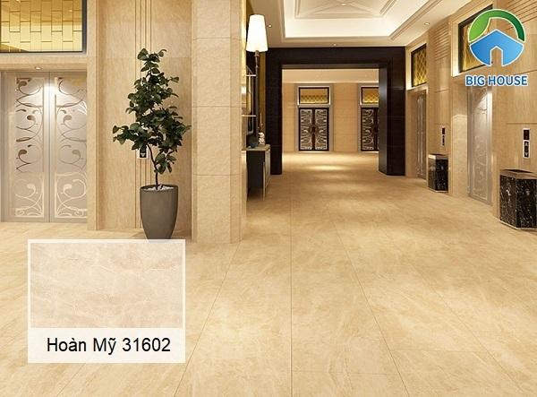 Tham khảo mẫu gạch vân đá marble Hoàn Mỹ 31602 tone vàng nhạt mang đến nét đẹp nhẹ nhàng và thanh lịch cho không gian sử dụng