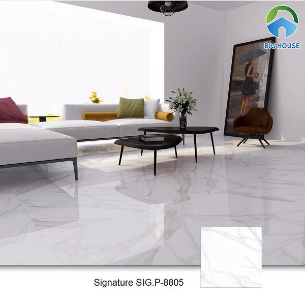 Gạch Signature SIG.P 8805 cũng là một sự lựa chọn tuyệt vời về dòng gạch vân đá marble trắng