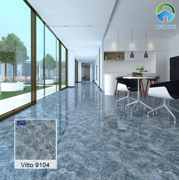 Mẫu gạch Vitto 9104 với họa tiết vân đá sinh động tạo vẻ đẹp thu hút cho không gian sử dụng