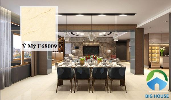Gạch Ý Mỹ F68009 với họa tiết vân đá chân thực, sắc nét. Gam màu vàng nhạt của gạch tạo cảm giác không gian thoáng hơn